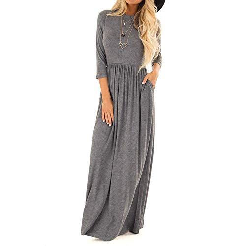 EU40 Robe de soirée longue à manches longues à manches longues pour femmes avec robes de poche pour femmes automne hiver (Color : Gris, Taille : M)