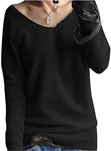 LinyXin Cashmere Damen Winter Kaschmir übergroße Pullover lose V-Neck Fledermausärmel Warm Gestrickter Oversize Pullover aus Wolle (M / 46-54, Schwarz)