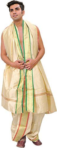 Exotic India Ready to Wear Dhoti and Veshti Set with Woven Golden...