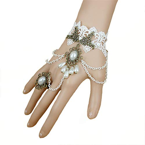 OOFAY Handgefertigtes Retro Lace Vampire Slave Armband, Gothic Style Armband mit Ring Women es Jewelry Clothing Accessoires für Festive Prom Party,White