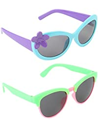 Stol'n Kids Flower And Oval Sunglasses Combo Pack Of 2 Pieces For Girls/Blue And Purple/Pink And Green/Gift Pack