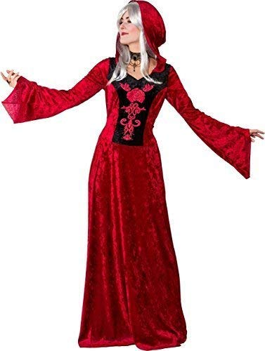 Fancy Me Damen Rote Königin Mittelalterlich Dame in Waiting High Priestess Zauberin TV Buch Film Kostüm Kleid Outfit - Rot, UK 10-12 (EU 38/40)