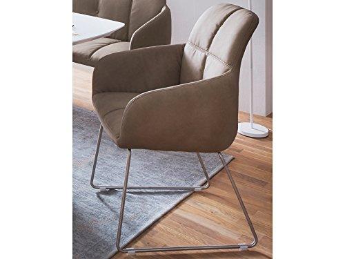 möbelando Esszimmerstuhl Küchenstuhl Polsterstuhl Kufenstuhl Stuhl Moorea IV (2-er Set) Schlamm