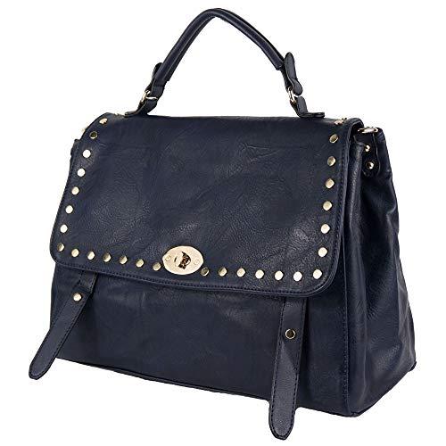 Borsa borchie donna a mano borchiata da lavoro passeggio capiente color blu nera cuoio tipo bag con tracolla giorno e sera in Ecopelle Blu