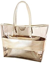 mujer Bolsa de Mano - TOOGOO(R) Impermeable Mitad Transparentes Bolsa de Mano, Bolso de Playa del PVC y Poliester con el Bolso Cosmetico Pequeno (color de champan)