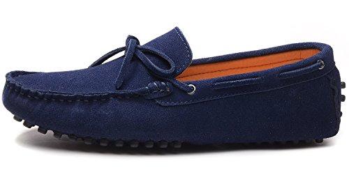 Odema hommes de Docksides Driving Apartments Mocassins en suède Flâneur Chaussures bleu foncé