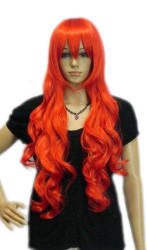 QIYUN.Z Haarteile Damen Perücken Lange Leuchtend Orange-Roten Lockigen Wellenförmigen Rampe Knall Hitzebeständige Faser Synthetische Haar Voller Anime Cosplay Kostüm Perücke (Langen Lockigen Roten Perücke Kostüm)