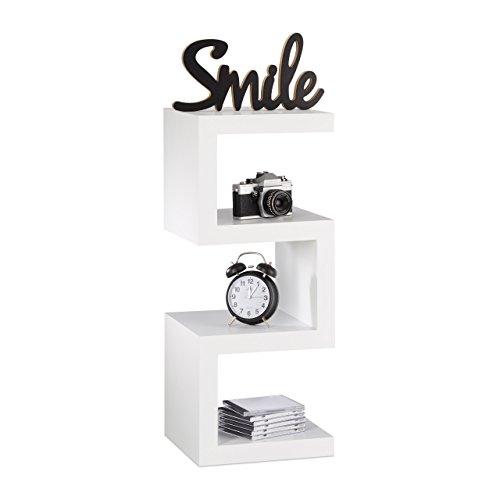 Relaxdays Retro Standregal im Zickzack Design, offenes Dekoregal für CDs, schmales Küchenregal HxBxT 75x30x30 cm, weiß