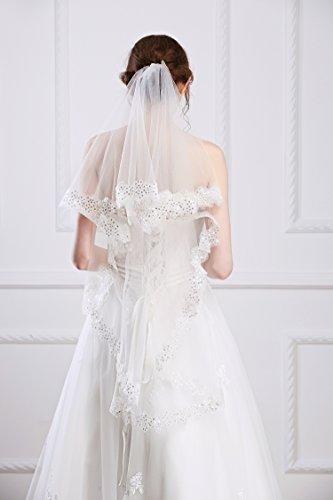Handmadejewelrylady mariée Femme simple Cathédrale élégant patchs à dentelle Voile de mariée (150 cm/59 en)