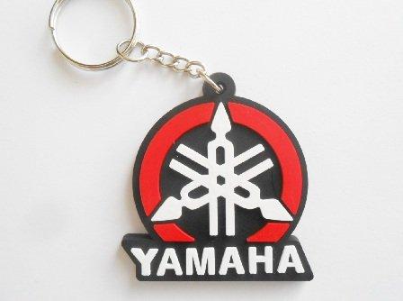 Llavero de goma de Yamaha, colores rojo, blanco y negro, estilo motocross, motero, skater, scooter, deportivo