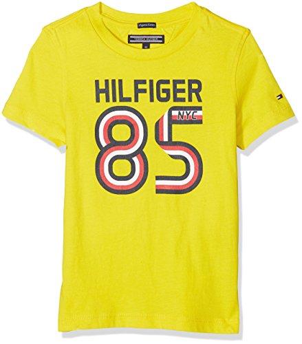 Tommy Hilfiger Jungen AME GLOBAL Stripe Series Tee S/S T-Shirt, Gelb (Empire Yellow 711), 110 (Herstellergröße: 5)