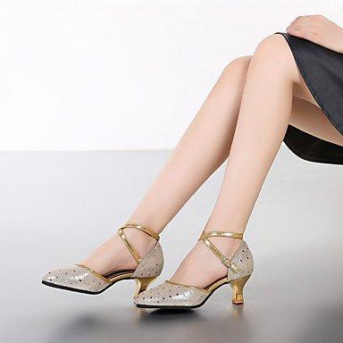XIAMUO Anpassbare Damen Tanz Schuhe aus Leder moderne Heels Cuban Heel Outdoor/Performance Silber/Gold Silber