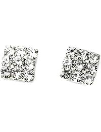 336150c0aa48 Piedras imitación de Diamante de cristal cuadrado cierre magnético a  presión de tuerca para hombre Juego de Pendientes de mujer para…