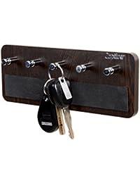 Madhuran Dixon 5 Hook Keyholder Wenge / Key Holders For Wall Decor, Wall Mounted Key Holder, Wooden Key Holder...