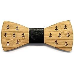 BOBIJOO Jewelry - Hombre de Madera bambú Pajarita Anclas de Infantes de Marina Cuero