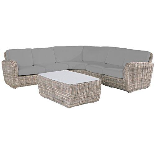 4Seasons Outdoor Möbel Barbados beige Lagun Rattan Weave Ecke Sofa-Set