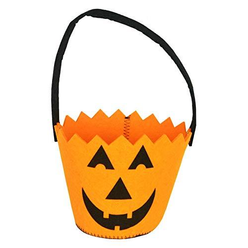 Joyfeel buy 1 Stück Halloween Tasche Kinder Sägezahn Smiley-Gesicht Muster Geschenkbeutel Süßigkeitstasche Handtasche Eimer für Kostüm Party