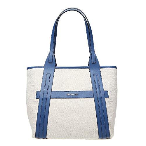 Trussardi Borsa Shopping a Mano con Ampi Manici da Donna in Tessuto e Pelle di Vitello - 34x27x16 Cm - Mod. 76B120M