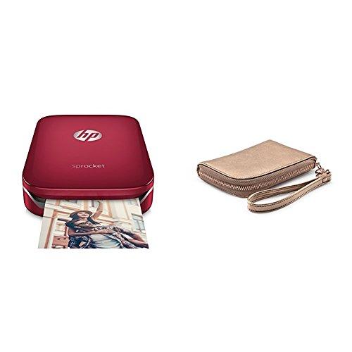 HP Sprocket Stampante Fotografica Istantanea Portatile, Rosso, 5 x 7.6 cm + 2HS24A Custodia per Stampante Portatile Sprocket, Oro