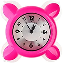 Mini baño reloj, lommer de vapor resistencia agua ducha reloj fuerte ventosa cristal reloj reloj, Rosa, 4.7x4.7x1.4inch