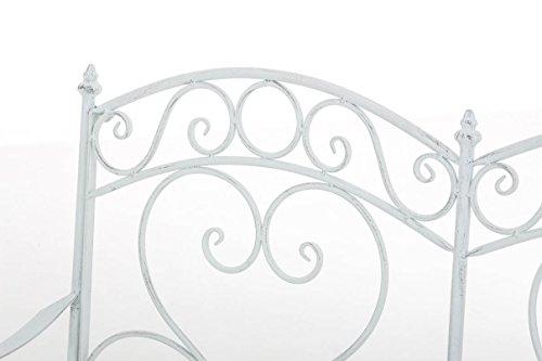 CLP Gartenbank SALIM im Landhausstil, aus lackiertem Eisen, 107 x 50 cm – aus bis zu 6 Farben wählen Antik Weiß - 4