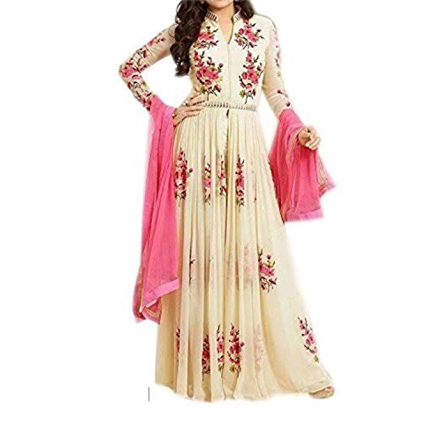 ELENORA FASHION Women\'s Crepe Chiffon Embroidered Anarkali Gown For Party Wear, Wedding, Functions And Other Occasions (Cream- Color_free Size)