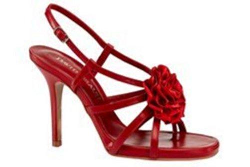 Sandalette High Heel aus Leder von David Braun Rot