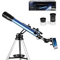 TELMU Teleskop - GS70060-60 / 700mm Astronomisches Teleskop 5x24 Suchfernrohr, Okular - K6mm, K25mm Refraktor Teleskop für Einsteiger, Amateur-Astronomen (mit Smartphone Adapter)