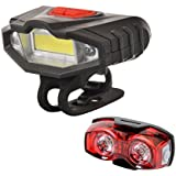Best Offer : Bicycle LED Front Light With Warning Lights And 3 Mode 1 Watt Twin Eye Rear Light Combo : Get 1 Free LED Watch