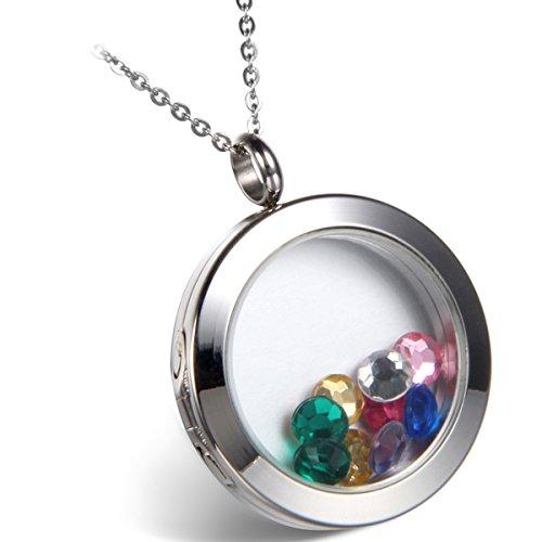 hänger Herren Halskette Fotoanhänger Kette, Medaillon Glas Edelstahl Foto Rahmen Anhänger zum befüllen Medaillon zum öffnen mit mehrfarbigen Steinchen Silber ()