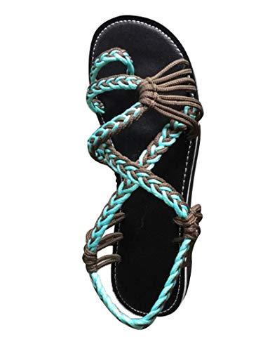 Damen Geflochtene Sandalen Sommer Gladiator Schuhe Casual Flachen Flip Flops Strand Zehentrenner Sandalen Türkis EU 41
