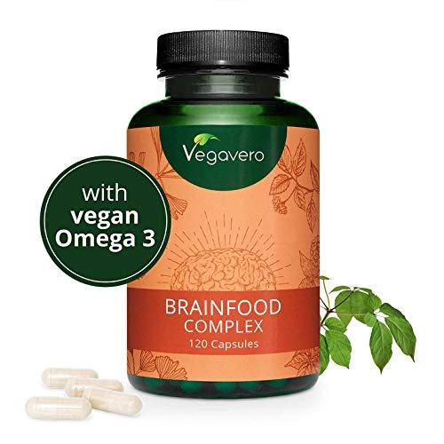 Integratore MEMORIA e CONCENTRAZIONE Vegavero® | con Omega 3 vegani, Guaranà (Caffeina), Ginseng, Ginkgo e Vitamine gruppo B | Brainfood Complex | 120 capsule | Vegan
