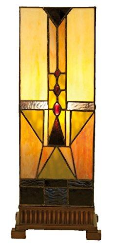 Lumilamp 5LL-5782 Tischlampe Lichtsäule Tiffany-Stil ca. 18 x 45 cm dekoratives buntglas handgefertigt glasschirm