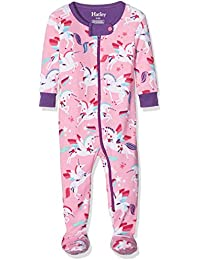 Hatley 100% Organic Cotton Footed Sleepsuits, Pyjama Bébé Fille, Rose/Multicoloured, 12-18 Mois