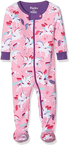 Hatley Baby-Mädchen Schlafstrampler 100% Organic Cotton Footed Sleepsuits, Pink (Winged Unicorns), 18-24 Monate