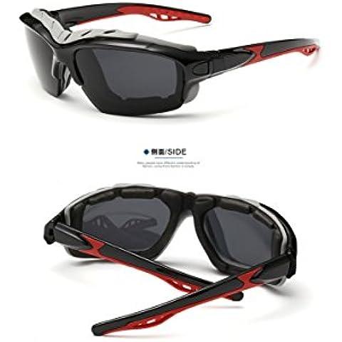 OPEL-R Moda para hombres y mujeres polarizadas en bicicleta gafas/gafas de sol, gafas resistentes lpes los choques de deportes al aire libre, material de la PC, uv400 , black-grey