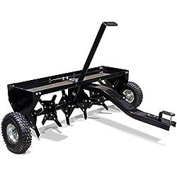 WilTec Aérateur Scarificateur Tainé Tracteur Tondeuse Largeur de Travail 120cm Profondeur de Travail 7,6cm