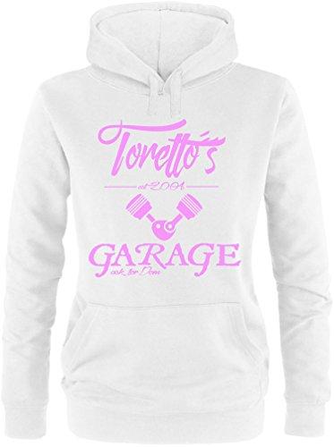 EZYshirt® Toretto´s Garage Damen Hoodie Weiss/Rosa