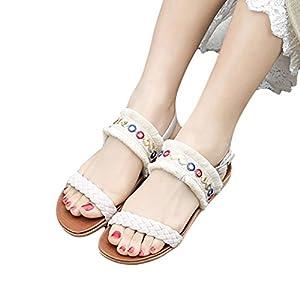 Damen Sommerschuhe Forh Sandalen Böhmen Shoes Fransen Gewebt Gürtel Anti Skidding Strand Schuhe Peep-Toe Flip-Flops Pantoletten Damenschuhe Sandalen Sandaletten