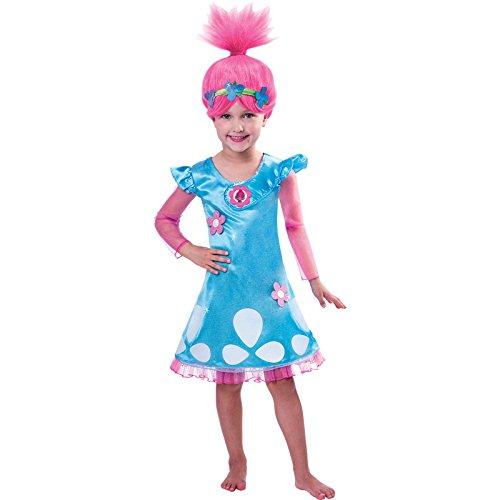 Bambino Bambina Trolls Papavero Costume & Parrucca - Blu, 5-6 anni