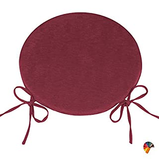 Arketicom ROUND CUSHION SET 4 PCS with NON-SLIP TIES Seat Removable Cover Pad Garden Patio Kitchen Dining Polyurethane Foam Customizable 40x40 bordeaux