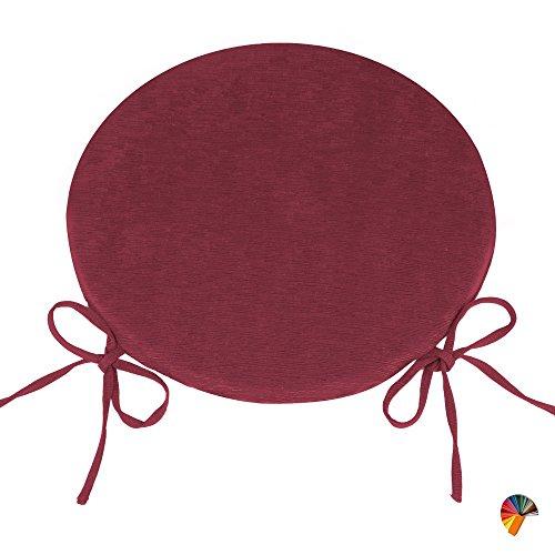 Arketicom (set 4 pz) cuscini sedie cucina rotondi sfoderabili con alette lacci laccetti cotone poliestere copri sedia tondo (cuscino casa giardino) personalizzabili cm 40x40 spessore 3 cm tessuto policotone cannettato bordeaux