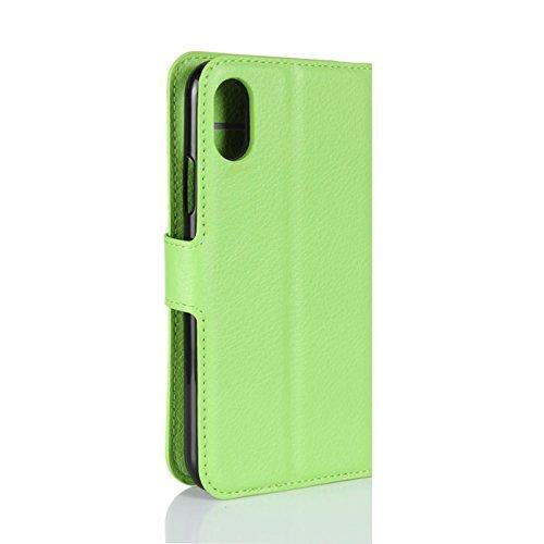"""Coque iPhone 8, HualuBro [Tout Autour Protection] Premium Étui en Cuir PU Portefeuille Housse Case Flip Cover avec Cartes Slots pour Apple iPhone 8 5.1"""" Smartphone (Noir) Vert"""