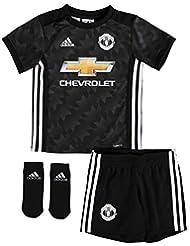 Manchester United 17/18 Bébés - Kit de Foot Réplique Extérieur - Noir/Blanc/Granit