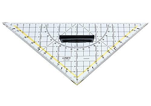 LINEX 100412006 Geodreieck 2621GH mit abnehmbarem Griff 16 cm GEO 180 Grad Geometrie-Dreieck mit mm Skala