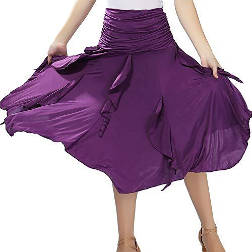 Maritown Frauen Latin Dance Rock, Volltonfarbe Damen Tanzkleid Latin Salsa Cha cha Modern Ballsaal Tango Walzer Rock Dancewear Big Swing Unregelmäßiger Rock (Ballsaal Tanz Kostüme Billig)