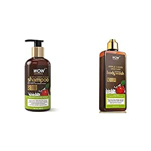 Wow Apple Cider Vinegar No Parabens & Sulphate Shampoo, 300Ml And Wow Skin Science Apple Cider Vinegar Foaming Body Wash - No Parabens, Sulphate, Silicones & Color, 2