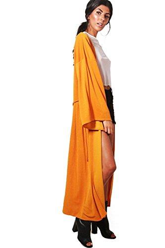 Damen Senf Bethany Übergroßer Kimono Mit Weiten Ärmeln Und Taillenbindung Senf