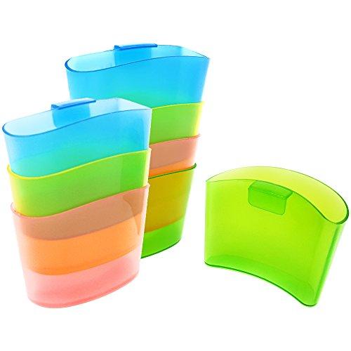 COM-FOUR 8x Teebeutelhalter aus Kunststoff, Teehalter in verschiedenen Farben