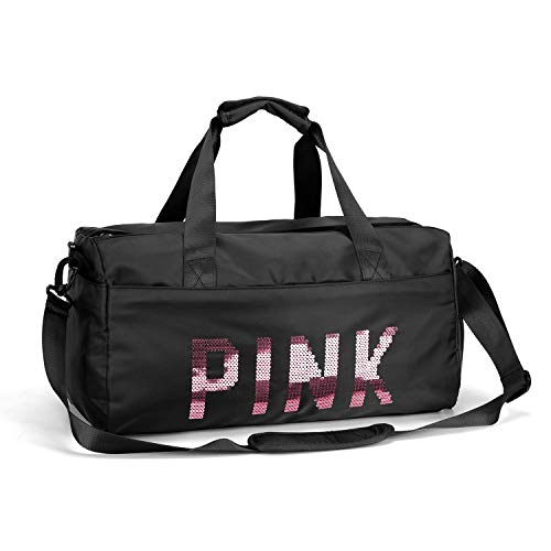 FEDUAN Pink Borsa Sportiva da Palestra dqa Viaggio con vano Scarponi Tasca bagnata alla Moda Impermeabile per UomoDonna Yoga Pilates Spiaggia Tempo Libero Sauna Shopping Weekender Vacanza Nero